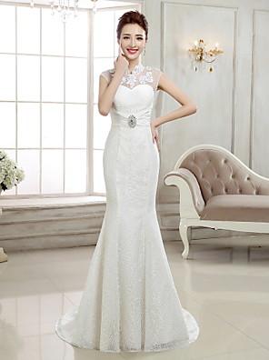 A sirena Abito da sposa - Elegante e di lusso Strascico a terra Collo alto Di pizzo con Con applicazioni / Perline