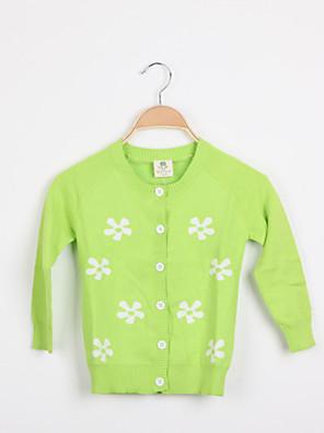 סוודר וקרדיגן פרחוני סריגה אביב / סתיו ירוק / אדום / צהוב הילדה של