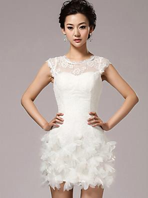 Tubinho Vestido de Noiva Vestidos Brancos Justos Curto / Mini Decorado com Bijuteria Renda com Flor