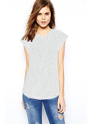 מנוקד צווארון עגול פשוטה יום יומי\קז'ואל חולצה נשים,קיץ שרוולים קצרים לבן / שחור דק