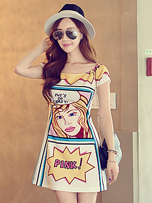 Pink Doll®Women's Round Casual Print Cute Sleeveless Dress