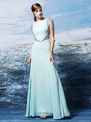ts couture® muodollinen iltapuku plus koko / pieni / vahvike bateau kokopitkiin chifongista crystal yksityiskohtaisesti