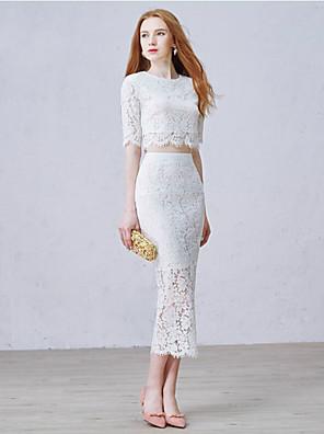 Mořská panna Svatební šaty Dva díly K lýtkům Klenot Krajka s