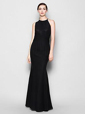 Lanting Bride® עד הריצפה שיפון שמלה לשושבינה - בתולת ים \ חצוצרה קולר / עם תכשיטים פלאס סייז (מידה גדולה) / פטיט עם בד בהצלבה
