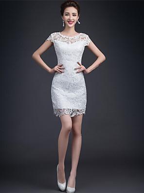 AMGAM® מעטפת \ עמוד שמלת כלה - לקבלת פנים שמלות לבנות קטנות קצר \ מיני עם תכשיטים תחרה עם