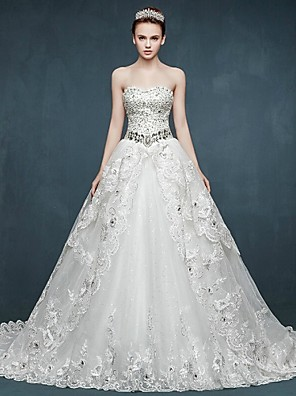 Ball Gown Wedding Dress Chapel Train Sweetheart Tulle with