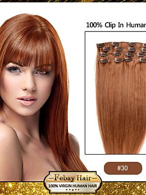"18 ""7pcs licht kastanjebruine (# 30) klem in remy human hair extensions"