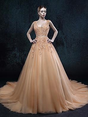 Linha A Vestido de Noiva Vestidos Noiva de Cor Cauda Corte Decote V Tule com
