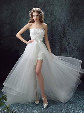 Pouzdrové Svatební šaty Svatební šaty dva v jednom Asymetrické Srdce Krajka s