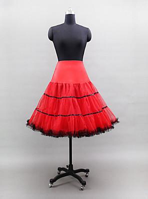 תחתונית  סליפ שמלת נשף באורך ברך 3 רשתות בד טול / פוליאסטר / לייקרה לבן / שחור / אדום / צהוב / חום