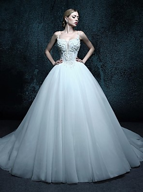 De Baile Vestido de Noiva Cauda Capela Com Alças Finas Tule com