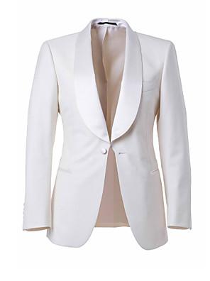 חליפות גזרה מחוייטת צווארון צעיף (שאל) Single Breasted One-button צמר ופוליאסטר מעורב חלק שני חלקים לבן כיס ישר ללא (חלק קדמי שטוח) לבן