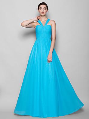 Lanting Bride® Na zem Šifón Šaty pro družičky Pouzdrové Ohlávka Větší velikosti / Malé s Křížení