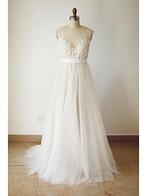 A-line Plus Sizes / Petite Wedding Dress - Chic & Modern Wedding Dresses in Color Sweep / Brush Train Scoop Tulle withBeading / Button /