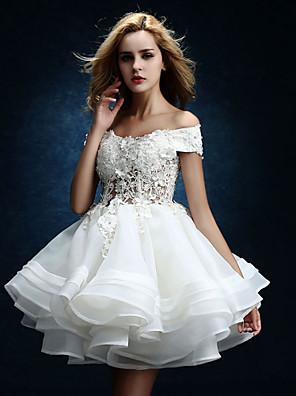 A-라인 웨딩 드레스 무릎 길이 오프 더 숄더 튤 와 비즈 / 버튼 / 드레이프트 / 레이스