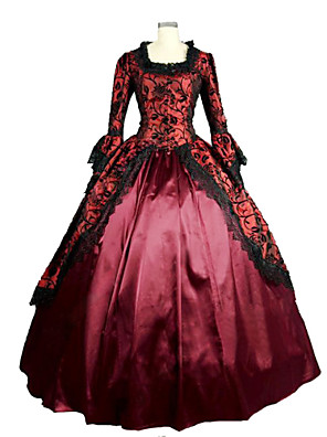 Jednodílné/Šaty Gothic Lolita Steampunk® / Retro Cosplay Lolita šaty Červená Retro Dlouhé rukávy Long Length Šaty Pro DámskéSatén /