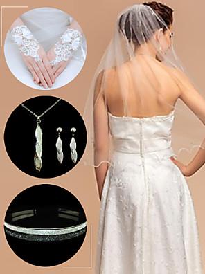 bruiloft accessoires set (sluier& handschoenen& hoofdtooi& halsketting& oorbellen)