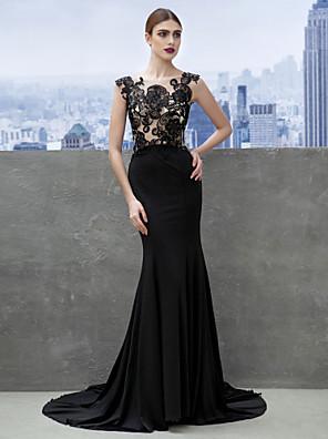 아플리케와 TS couture® 공식적인 이브닝 드레스 트럼펫 / 인어 특종 법원 기차 저지