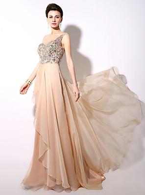 포멀 이브닝 드레스 A-라인 원 숄더 바닥 길이 쉬폰 와 비즈