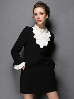 aofuli plus size kvinder tøj vinter vintage luksus perle patchwork Falbala mode party / lejlighedsvis / arbejde dress