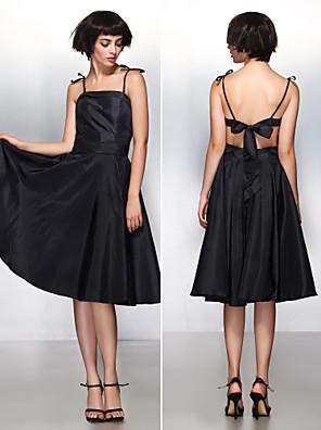 ts Couture® cocktail robe d'une ligne bretelles spaghetti genou longueur taffetas avec un arc (s)