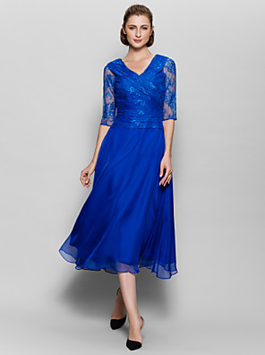 A-line Mother of the Bride Dress Tea-length Half Sleeve Chiffon / Lace with Lace / Criss Cross / Ruching