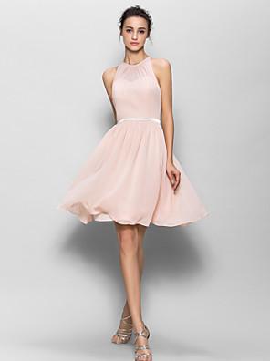 Lanting Bride® Ke kolenům Žoržet Šaty pro družičky A-Linie Klenot s