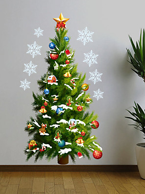 Kerstmis Wall Stickers Vliegtuig Muurstickers , PVC 50*70cm