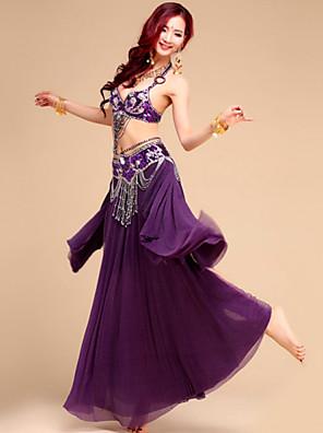 Belly Dance Outfits Women's Performance / Training Chiffon / Chinlon / Spandex / Polyester Beading