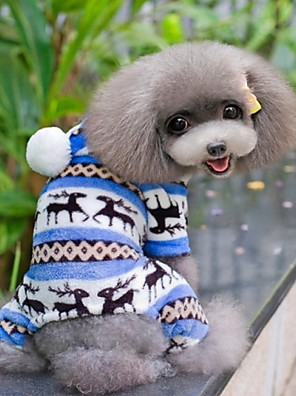 Cães Camisola com Capuz / Calças Azul / Marrom / Rosa / Cinzento Roupas para Cães Inverno Floco de Neve