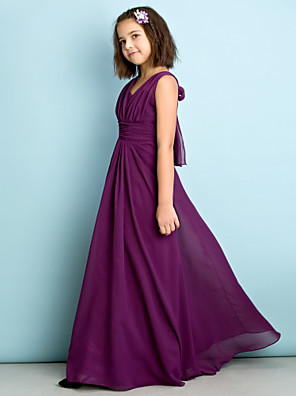 Floor-length Chiffon Junior Bridesmaid Dress - Mini Me A-line V-neck with Criss Cross