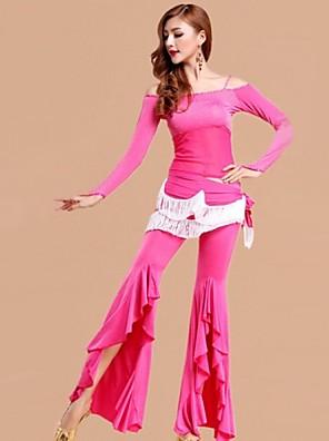 Břišní tanec Úbory Dámské Výkon Viskózová vlákna / Nylon / Akryl Volánky 2 kusy Dlouhé rukávy Kalhoty / horní a dolní část)Top length: