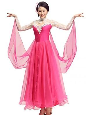 Dança de Salão Vestidos Mulheres Actuação Elastano / Poliéster / Renda Cristal/Strass 1 Peça VestidosDress length S:126m / M:127cm /