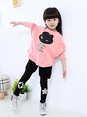 Girl's Clothing Set,Cotton Blend Spring / Fall Pink / Gray