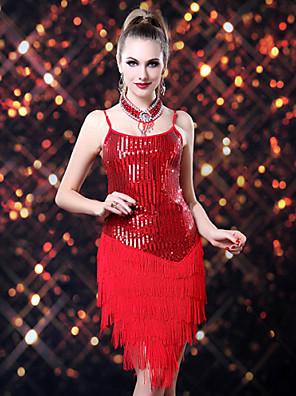 ריקוד לטיני שמלות בגדי ריקוד נשים ביצועים ספנדקס / פוליאסטר / נצנצים נצנצים / גדיל (ים) חלק 1 שמלות
