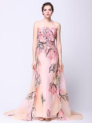 패턴 / 인쇄와 TS couture® 공식적인 저녁 / 검은 넥타이 갈라 드레스 칼집 / 칼럼 끈이 watteau 기차 쉬폰