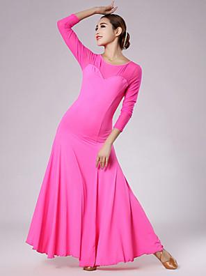 ריקודים סלוניים שמלות בגדי ריקוד נשים ביצועים / אימון טול / ויסקוזה עטוף חלק 1 שרוול ארוך טבעי שמלותM: 132cm L: 133cm XL: 134cm XXL: