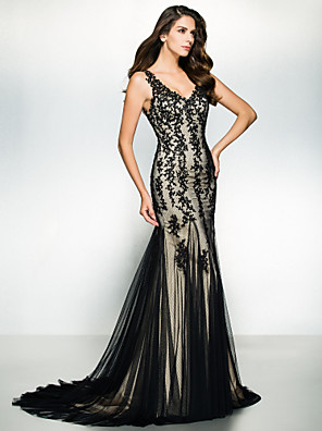 ts couture® noche formal / lazo negro vestido de gala de la trompeta / sirena v-cuello de barrido / cepillo tren tul con apliques