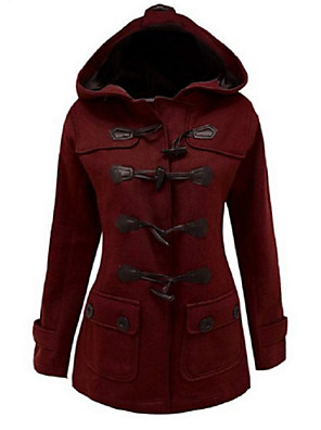 Mulheres Casaco Vintage Inverno,Sólido Vermelho / Preto / Cinza Algodão Com Capuz-Manga Longa Grossa