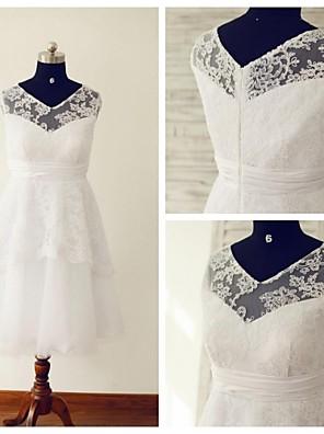 Linha A Vestido de Noiva Longuette Decote V Renda / Tule com Renda / Franzido / Faixa / Fita