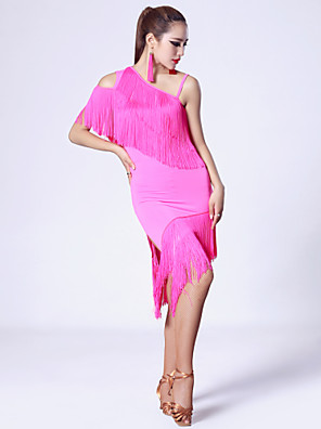 Imported Nylon Viscose with Tassels Latin Dance Dresses for Women's Performance(More Colors)