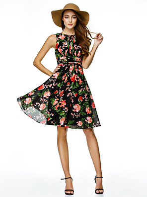 ts couture® Cocktailparty Kleid a-line Juwel knielangen Chiffon mit Muster / print