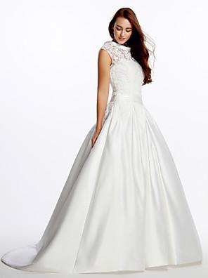 Lanting Bride A-line Wedding Dress-Sweep/Brush Train High Neck Lace / Satin