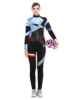 LIFETONE® חולצה וטייץ לרכיבה לנשים שרוול ארוך אופניים נושם / שמור על חום הגוף / בטנת פליז / רוכסן YKK / תומך זיעה מעילי פליז / ג'רזי