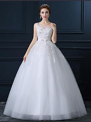 De Baile Tamanhos Grandes / Pequeno Vestido de Noiva Longo Decote em U Tule com Com Apliques / Miçanga