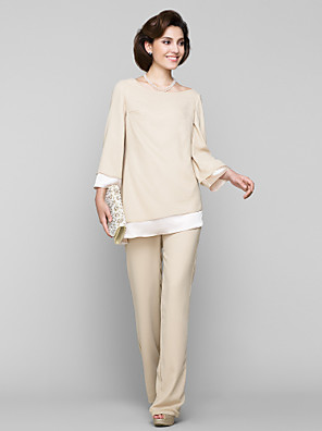 Sheath / Column Mother of the Bride Dress Ankle-length Long Sleeve Chiffon with