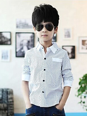 Boy's Cotton Spring / Fall Long Sleeve Wave Point  Assorted Colors Double Collar Shirt