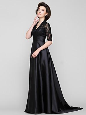 Lanting Bride® גזרת A שמלה לאם הכלה  שובל סוויפ \ בראש חצי שרוול תחרה / שרמוז - תחרה