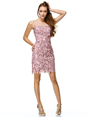 Cocktail Party / Company Party / Family Gathering Dress Sheath / Column Scoop Short / Mini Lace / Polyester with Beading / Lace