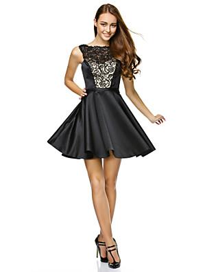 TS couture® 칵테일 파티 / 기업 파티는 줄 끈이 레이스 짧은 / 미니 레이스 / 새틴 드레스